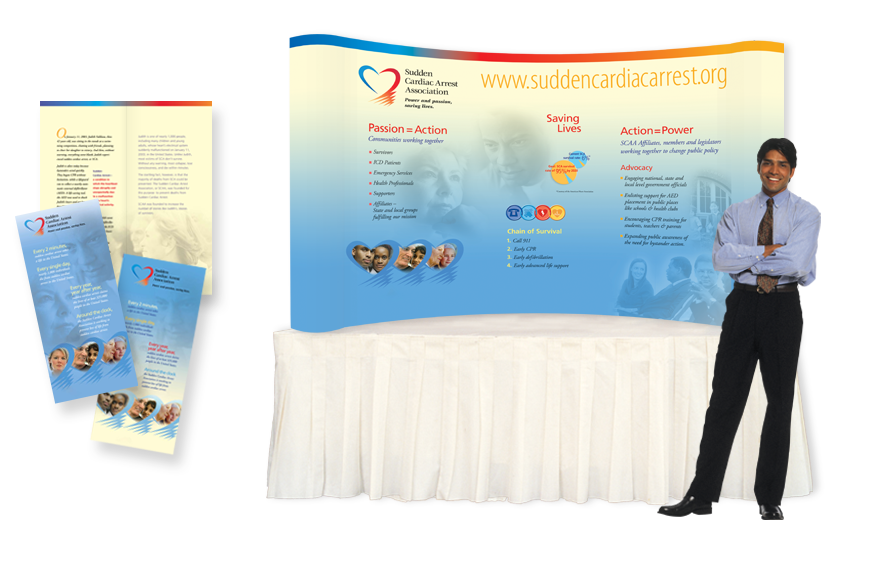 Sudden Cardiac Arrest Association (SCAA), Identity, Stationery, Brochures, and Exhibit